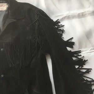 Excelled Jackets & Coats - Vintage 80s Black Suede Fringe Coat w/snap closure